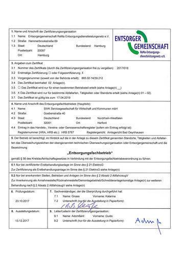 Zertifikat Efb SWK Herford komplett